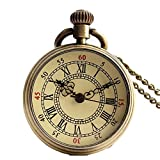 Shirleyle Creative Vintage Uncovered Quartz Pocket Watch For Women Men Birthday Gift