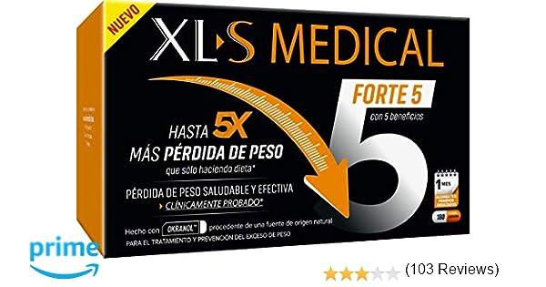 XLS Medical Forte 5 Tratamiento Captagrasas para Perder Peso, 1 Mes de Tratamiento, 180 Cápsulas