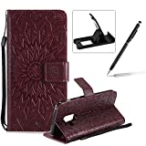 Wallet Case for Samsung Galaxy A8 2018,Strap Flip Case for Samsung Galaxy A8 2018,Herzzer Retro Elegant [Brown Mandala Flower Pattern] Stand Function Magnetic Smart Leather Case with Soft Inner for Samsung Galaxy A8 2018 + 1 x Free Black Cellphone Kickstand + 1 x Free Black Stylus Pen