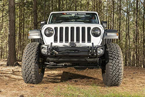 (Rugged Ridge 11549.04 Arcus Front Bumper, w/Winch Tray & Tow Hooks, 18-19 Jeep JL/JT)