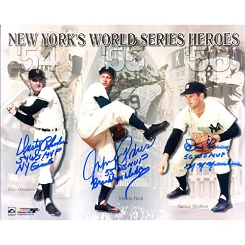 Don Larsen Autographed Photograph - Dusty Rhodes Johnny Podres & 8x10 - Autographed MLB Photos