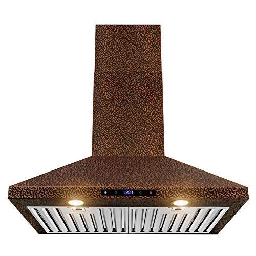"AKDY Wall Mount Range Hood –30"" Embossed Copper Hood Fan"