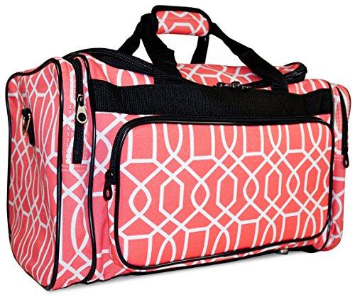 Ever Moda Pink Geometric Print Duffle Bag 19-inch