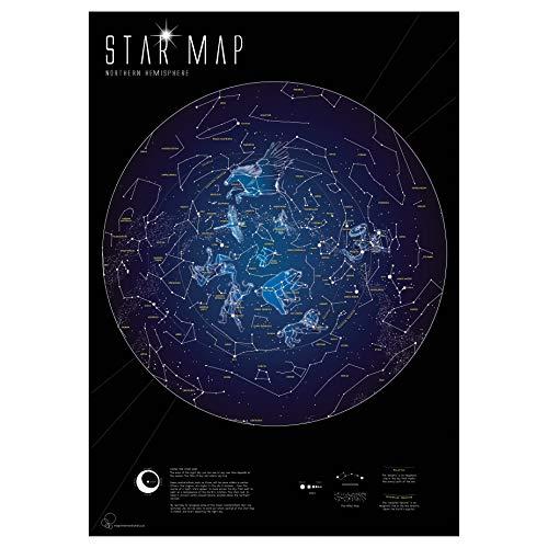 International Star - Maps International Glow in the Dark Constellation Map - Illuminates After Dark - 33 x 23
