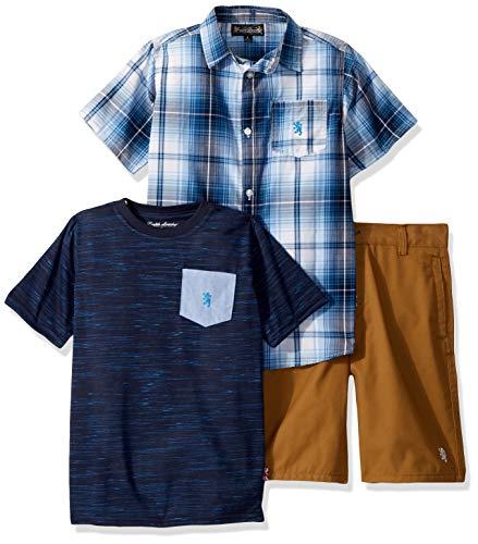English Laundry Boys' Little Sleeve Plaid Woven, T-Shirt, and Short Set, Multi, 7 (Plaid Woven Shorts)