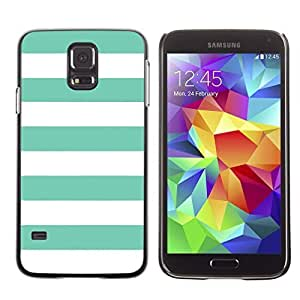 Color Stripes Pattern Design Hard Case Cover for Samsung Galaxy S5 (Tiffany Blue) by lolosakes