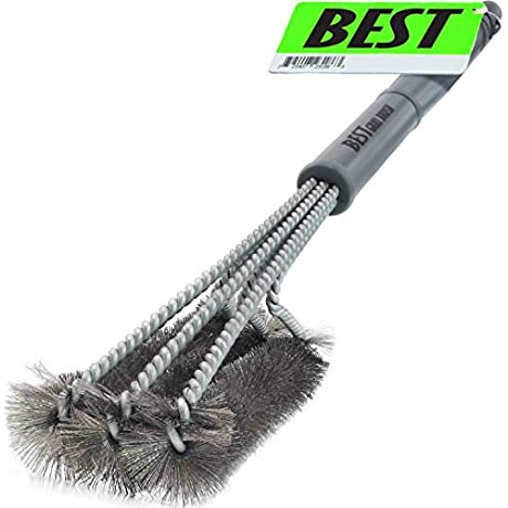 Best BBQ Grill Brush STAINLESS STEEL 18 Barbecue Cleaning Brush With Wire Bristles And Soft Comfortable Handle Perfect Cleaner Scraper For Grill Cooking Grates Racks Burners