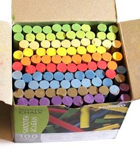 100 Dustless Chalk Sticks - Assorted Colours Artstraws