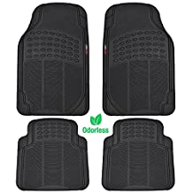 MotorTrend 4 Piece Heavy Duty Rubber Floor Mats - Odorless - All Weather Protection - Semi Custom Fit (Matte Black)