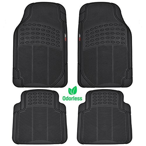 MotorTrend MT-754-BK Heavy Duty Rubber Floor Mats - Odorless - All Weather Protection - Semi Custom Fit (Matte Black) 4 Pack ()
