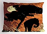 Ambesonne Elephant Pillow Sham by, Africa Theme A Tree and an Elephant under Sunshine Illustration Print, Decorative Standard King Size Printed Pillowcase, 36 X 20 Inches, Black and Marigold