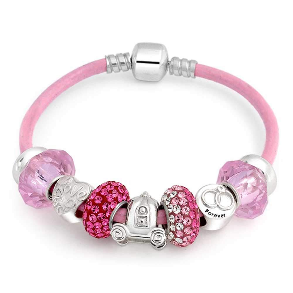 Forever Love Heart Valentine Pink Crystal Bead Charm Bracelet Genuine Leather Sterling Silver For Women Barrel Clasp by Bling Jewelry (Image #2)