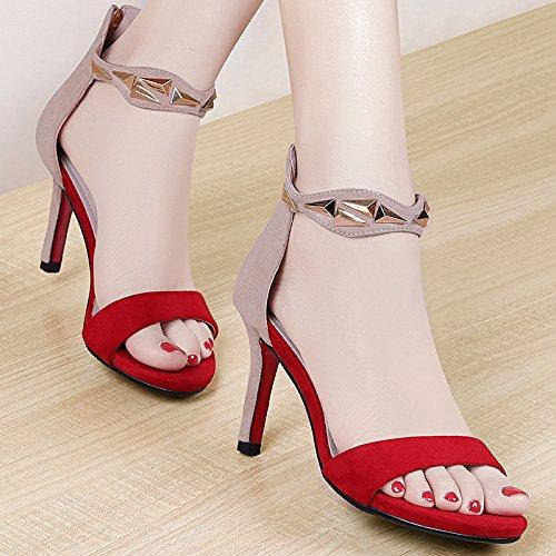 MEI&S Sandales B00ZP324CO femmes nouilles velours Fermeture éclair éclair dos Scrub Sandales Talons aiguilles chaussures Red 004a8fc - gis9ma7le.space