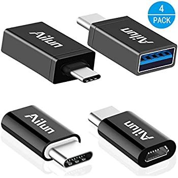 Type C Adapter, Micro USB to USB-C Adapter,USB-C to USB-A 3.0 Adapter[4Pack],by Ailun,Data Syncing and Charging,for MacBook,ChromeBook Pixel,Nexus 5X,Nexus 6P,Nokia N1 and Other Type C Devices[Black]