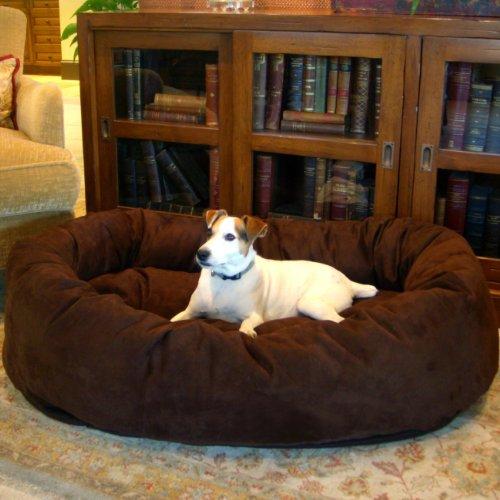 Majestic Pet Medium 32″ Bagel Dog Pet Bed MicroSuede – Chocolate, My Pet Supplies