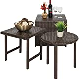 Best Choice Products Outdoor Patio Furniture 3-Piece Wicker Table Set