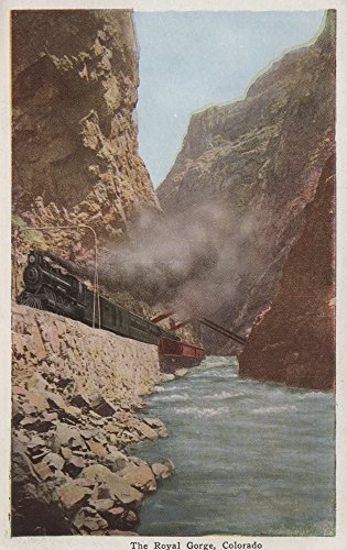 Royal Gorge, Colorado - View of Train Alongside River - Vintage Halftone (24x36 SIGNED Print Master Giclee Print w/Certificate of Authenticity - Wall Decor Travel Poster)