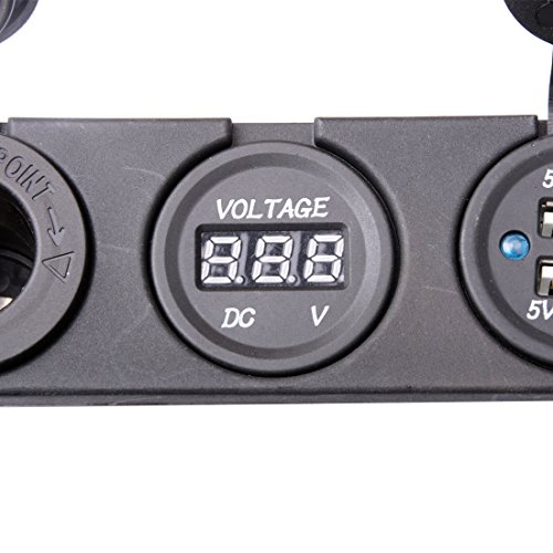 R REIFENG Car DC Digital Voltmeter/Dual USB 2 Port/DC12V Power Socket Three Hole Panel by R REIFENG (Image #4)