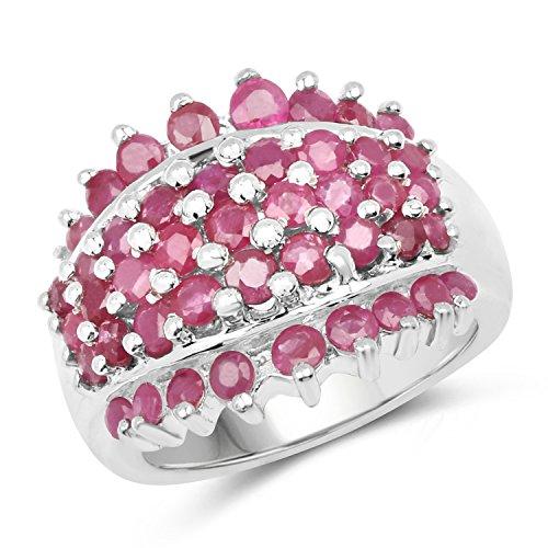 Johareez Ruby Cluster Designer Ring in Sterling - Ruby Ring Cluster