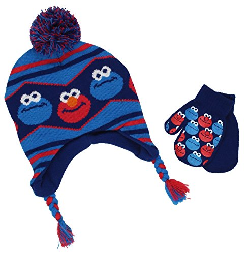 Elmo Hats (Sesame Street Baby Beanie Hat and Mittens Set (One Size, Elmo Cookie Blue))