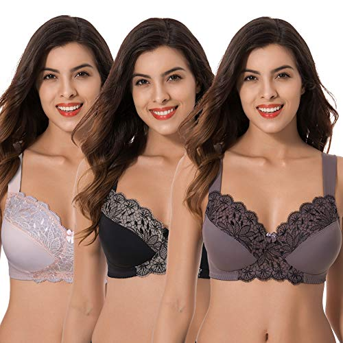 Curve Muse Plus Size Unlined Minimizer Wire Free Bra with Embroidery Lace-3Pack-PINK,Black,GRAY-40C