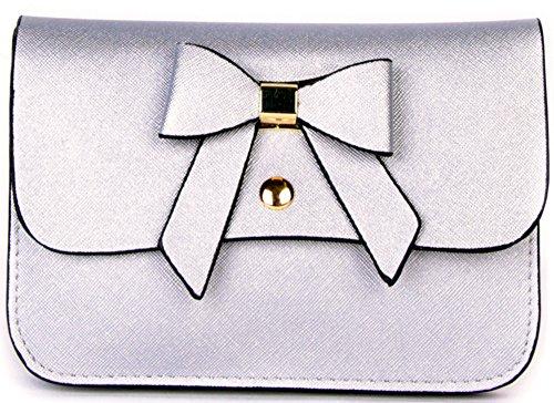 Clutch Party Evening Bag Borsa Da Sposa Fiocco Lunga Catena Galantry Parigi Argento
