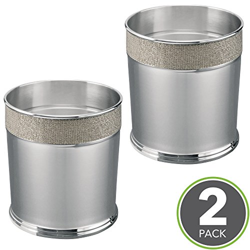 mDesign Decorative Round Small Trash Can Wastebasket, Garbage Container Bin for Bathroom, Powder Room, Kitchen, Home Office - Pack of 2, Polished Stainless Steel with Woven Metallic Textured (Polished Steel Accent)