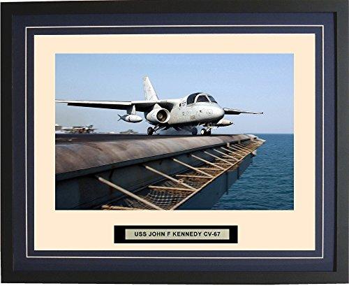 - Navy Emporium - USS John F Kennedy CV-67 - Framed - Photo - Engraved Ship Name - Double Mat - Photograph - 16 X 20 - 201CV67Blue