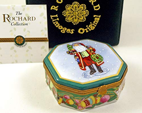 Authentic French Porcelain Hand Painted Rochard Studio Collection Limoges Box Lynn Haney Santa Claus Making Spirits Bright