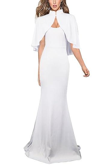 e21fea69092 Femme Robe De Soirée Longue Robe Cocktail Chic Robe De Fete Robe Maxi Blanc  S