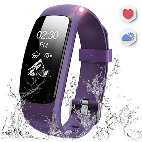 AUSUN Fitness Tracker, 107 Plus Heart Rate Monitor Waterproof Activity Tracker Calories Counter Smart Wristband GPS Pedometer Watch Sports Bracelet with Sleep Monitor, Purple (Heart Rate Monitor Plus)
