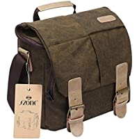 S-ZONE Vintage Waterproof Canvas Leather Trim DSLR SLR Shockproof Camera Shoulder Messenger Bag­