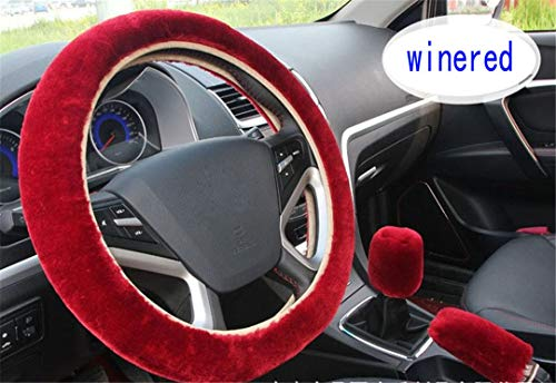 XiangTiao 3Pcs/Set Winter Faux Wool Car Steering Wheel Cover for Women Car Seat Cover Fuzzy Car Interior Car Styling Wine ()