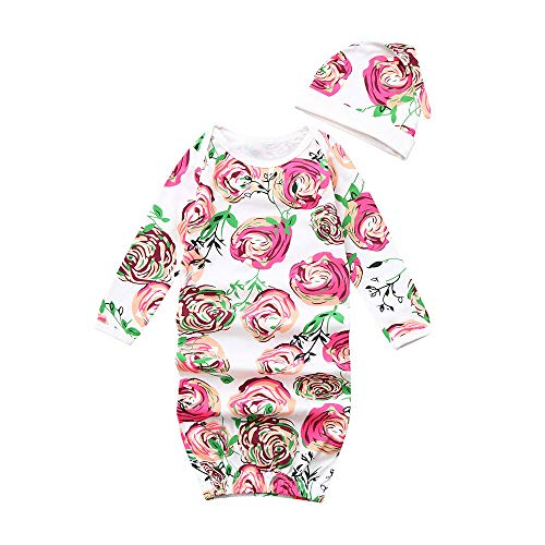 - Tronet Newborn Baby Floral Print Pajamas Swaddle Infant Romper Sleeping Bag Swaddle + Hat (Red)