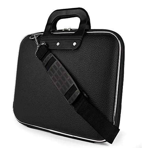 SumacLife Cady Bag Collection Durable Semi Hard Shell Carrying Case with Removable Shoulder Strap for 15.6 Laptops, Notebook (Black)
