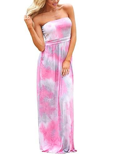 HOTAPEI Women's Floral Print Bohemian Long Dress Strapless Beach Maxi Dress