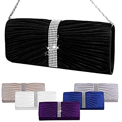 Padoora Womens Elegant Pleated Satin Rhinestone Fashion Clutch Handbags Evening Bag
