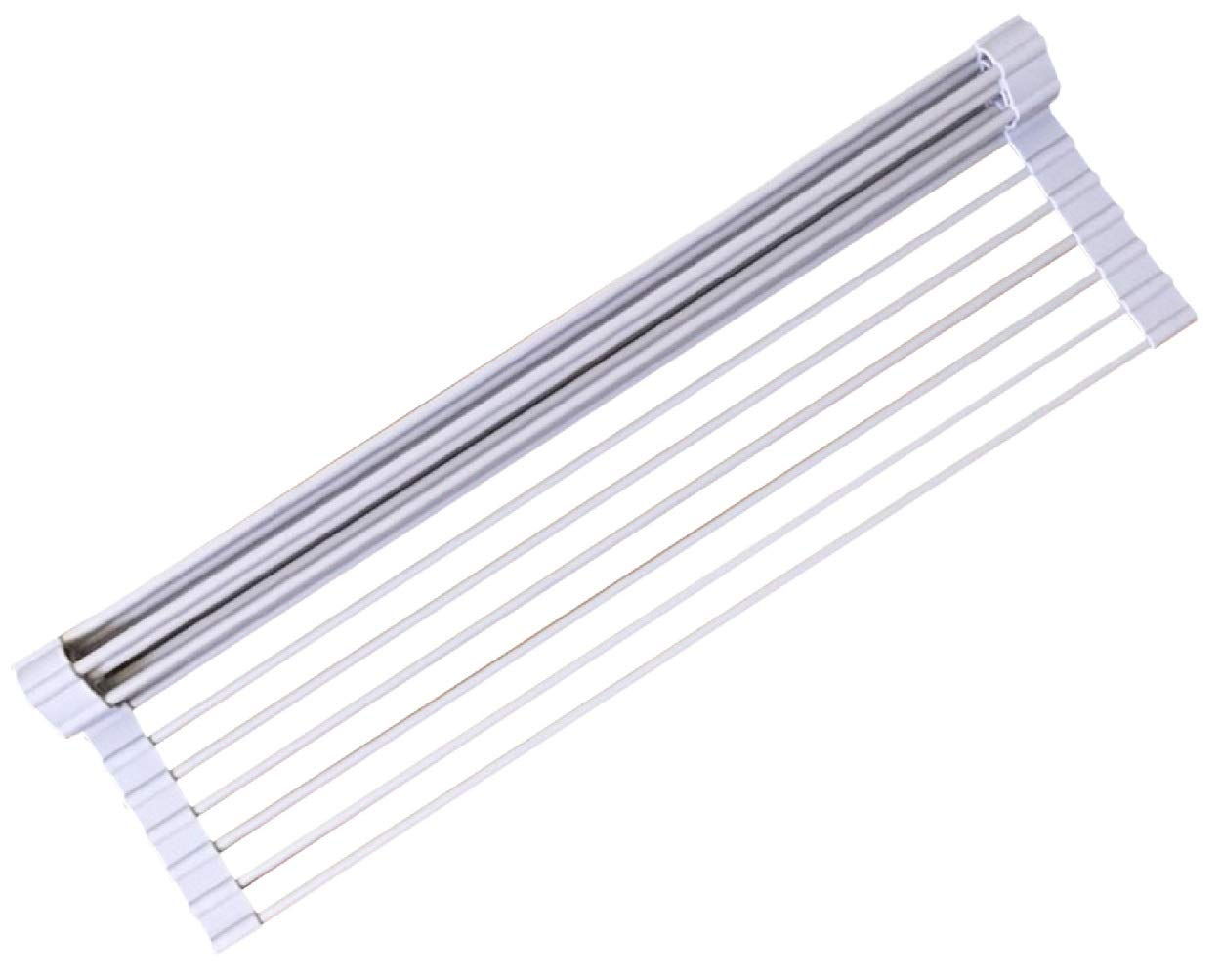 Roll-up Dish Drying Rack by Rustle - Silicon Coated Steel Solid Round Rods- Multipurpose Over the Kitchen Sink Drainer with Heat Resistant and Rust-Proof Coating