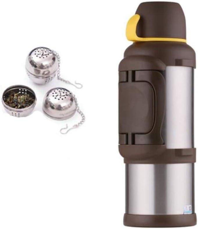 TPXR サーモス、旅行湯たんぽ、屋外駐車旅行に適したステンレス鋼のコーヒー絶縁コールドボトル、無料の紅茶ボール、ボトルブラシ、スケールお茶、カップ、3L、4L大容量ステンレススチール (Color : Steel color4L) Steel color4L