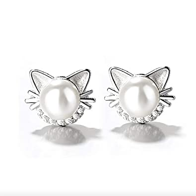 fc1a9a1bd887a Amazon.com: KWUNCCI Cat Stud Earrings with Freshwater Cultured Pearl ...