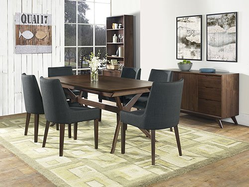 Coastlink Hawaii Walnut Dining Set For 6 - Scoop Back Chairs Red Fabric