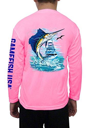Microfiber Kids Shirt - GAMEFISH USA Kid's UPF 50 Long Sleeve Microfiber Moisture Wicking Performance Fishing Shirt Sailfish Small Pink