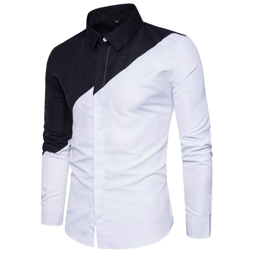 Blusa de Hombre de BaZhaHei, Camisetas de Hombre Patchwork Clásico de la Moda de Manga Larga de Hombre Costura Casual para Hombre de Slim Fit tee Camisas de ...