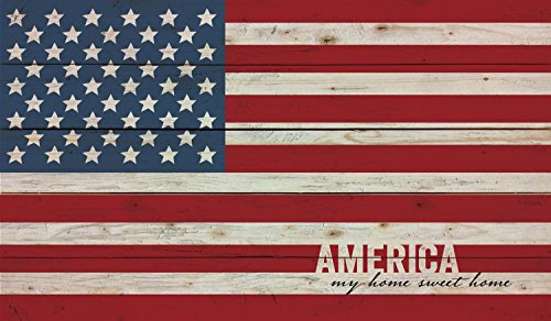 (America My Home Sweet American Flag Patriotic 14 x 24 Wood Pallet Wall Art Sign Plaque)