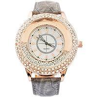 Loweryeah Womens Quartz Watch Artificial Leather Band Quicksand Beads Rhinestone Dial Analog Wrist Watch 25cm (Grey)