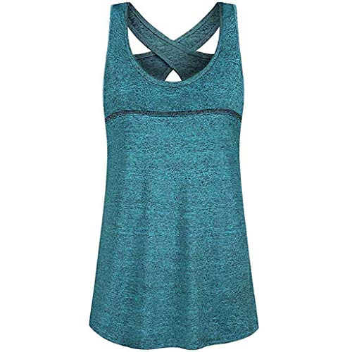 Kawaiine Women's Casual Large Size O Neck Sleeveless with Pocket Short Sleeve Top Blouse Light Blue