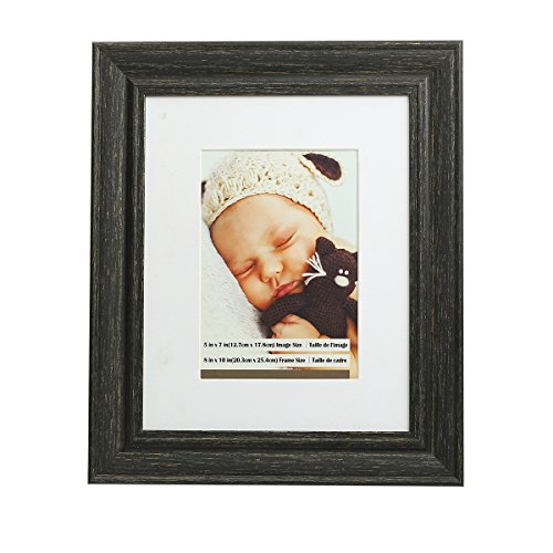 Aike Home Photo Picture Frame Display Table Top Desk Frame 8x10 Paper Mat 5x7 Inch Charcoal Black Rustic Color Table Wall Mount Hangers Easel Included 1 Pack Display Horizontally or Vertically (Pictures Charcoal)