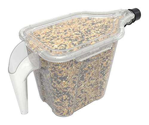 More Birds 100 N-1 Super Tote, 5 Pound Capacity Stokes Select Container and Dispenser, Seed Storage, 3, 5 lb. Clear