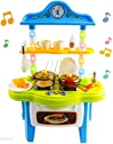 WolVol Little Chef Kitchen Play Set Toy with Real Cooking Sounds (and music) and Beautiful LED Lights - Equipped with Kitchenware and a Real Working Water Faucet