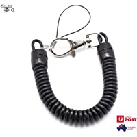 Black Retractable Spring Coil Spiral Stretch Chain Keychain Key Ring